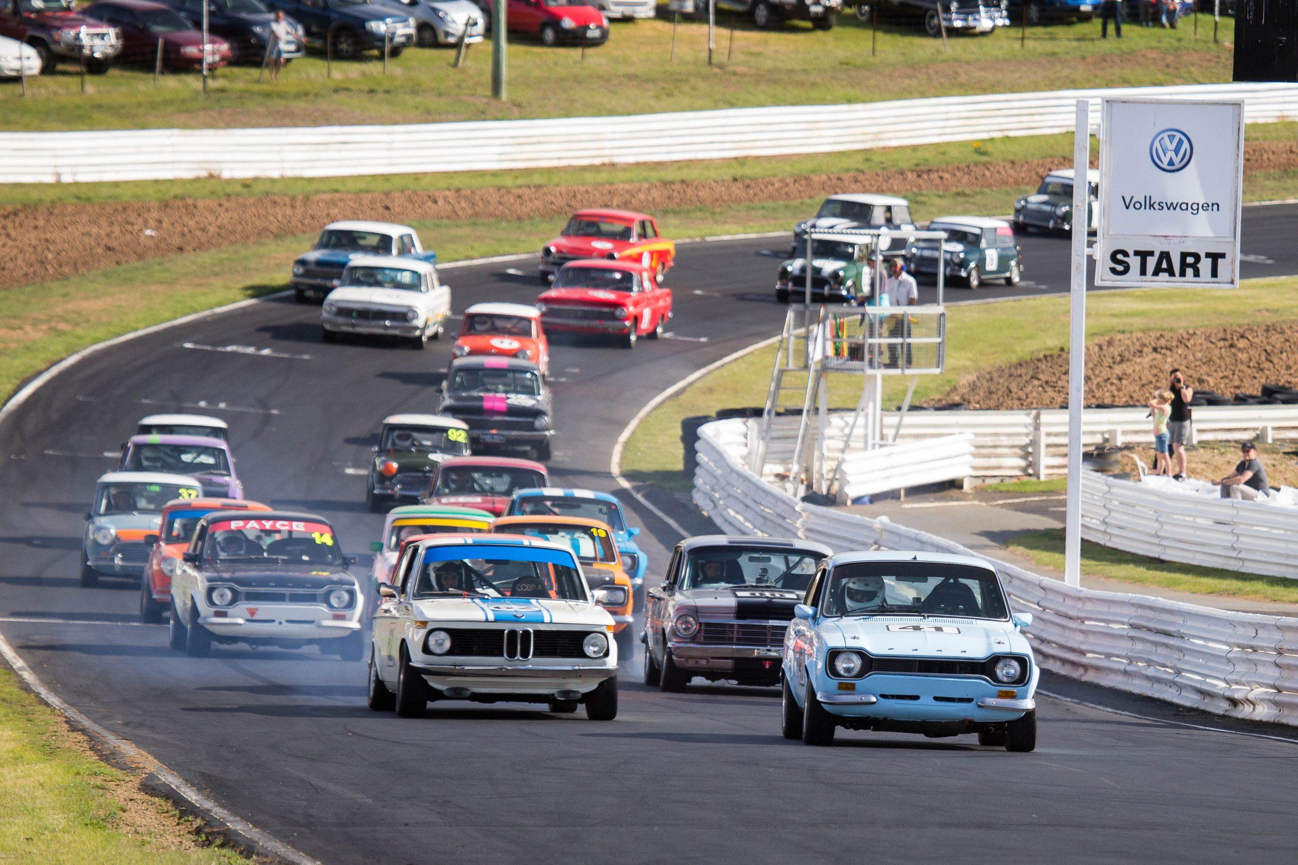 Racing at Baskerville Historics in Tasmania