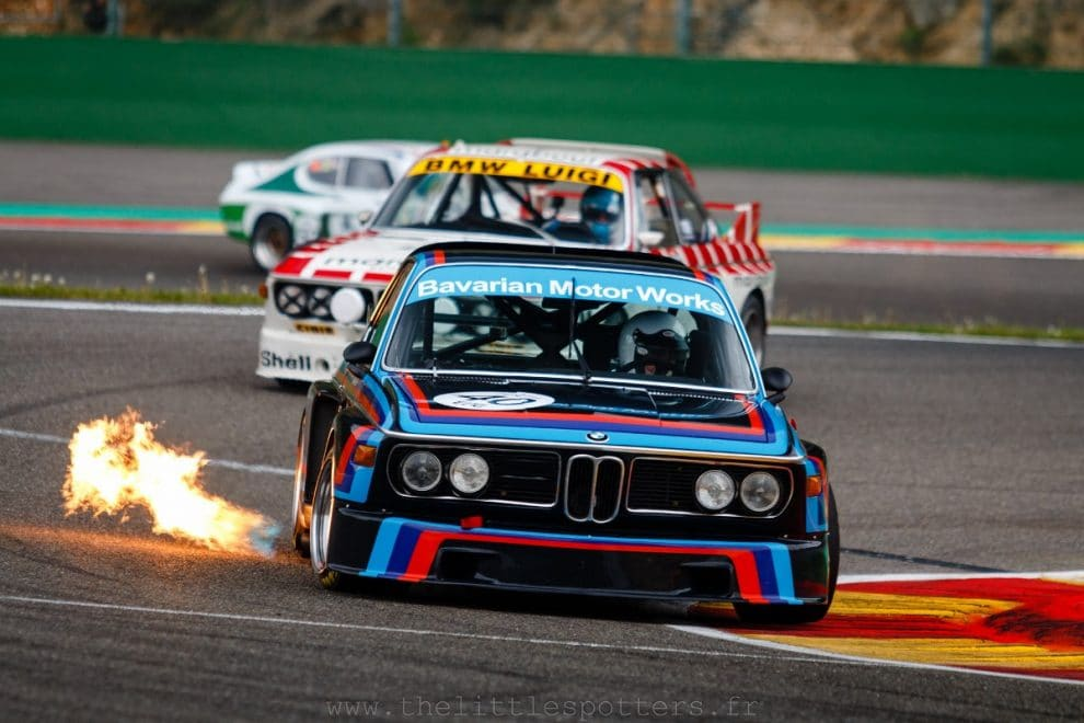 Historic touring car action at the Spa Classic event