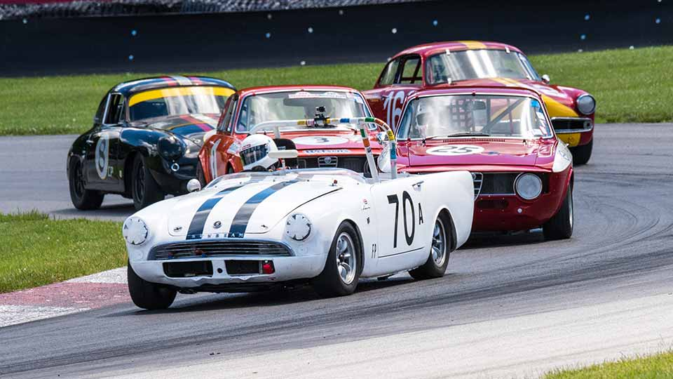 Racing at the Vintage Grand Prix of Mid-Ohio