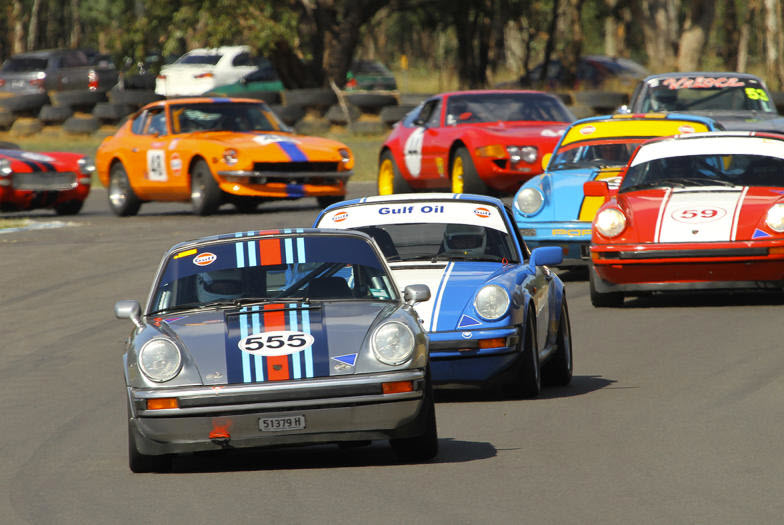 Sports cars racing at the Autumn Historic Warwick event