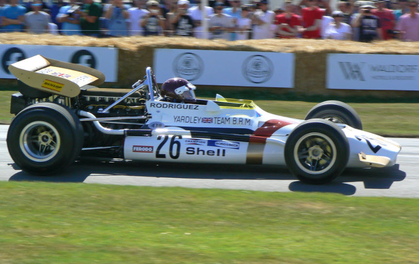 Historic racing cars compete on the hillclimb at the Goodwood Festival of Speed