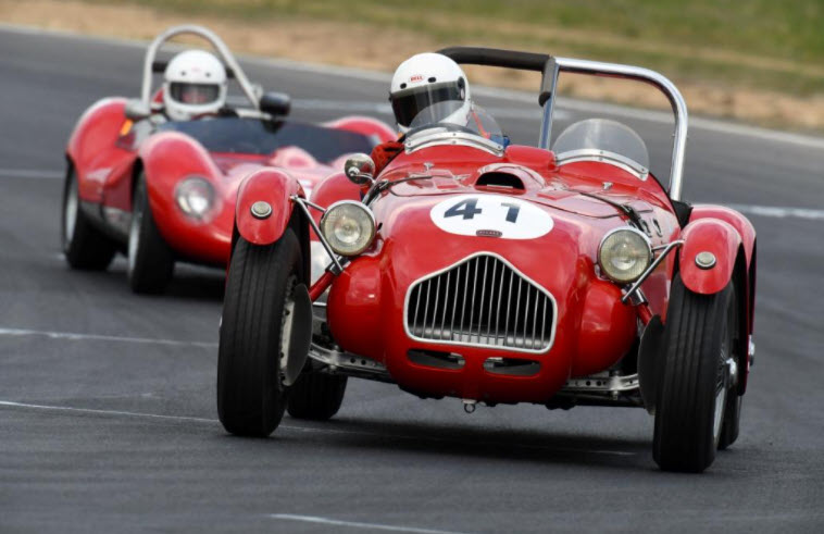 Vintage racing cars in action at Historic Winton
