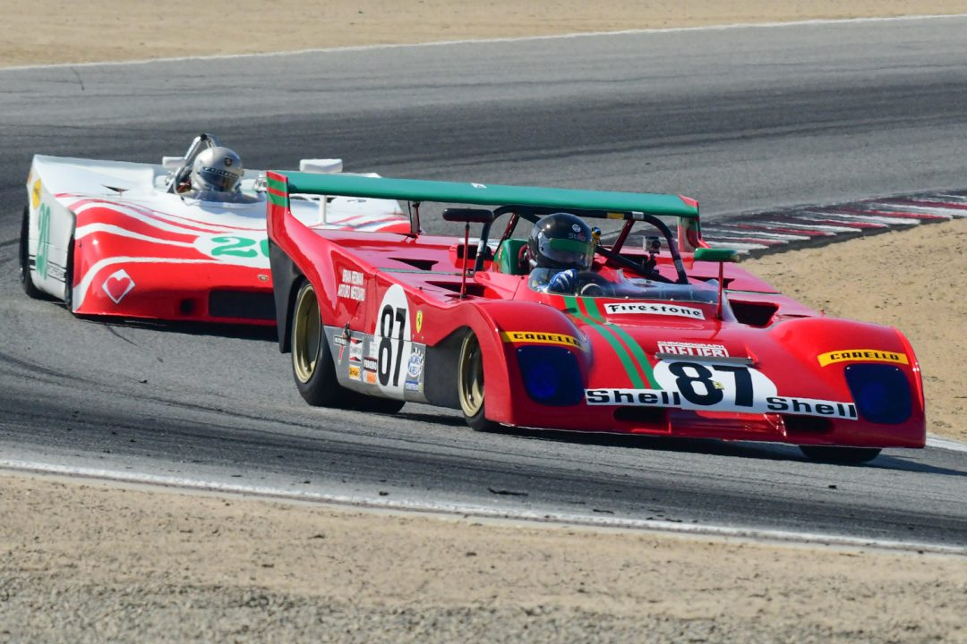 Historic sports racing cars in action at the Monterey Pre-Reunion event