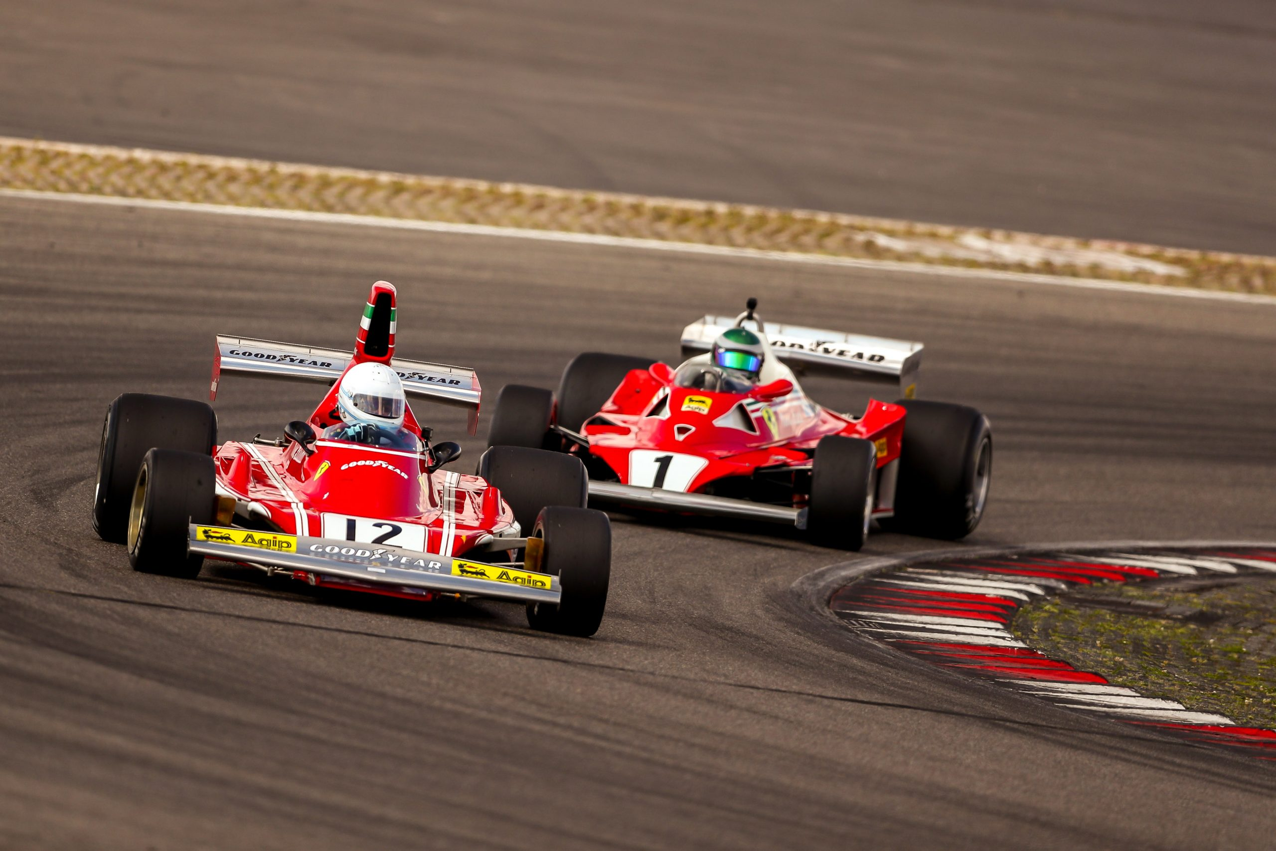 Historic Formula One Ferraris in action at the AvD Oldtimer Grand Prix