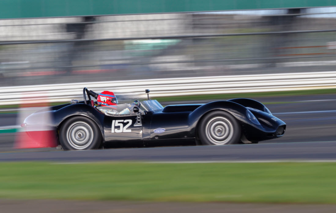 Vintage sports racing Lister st the Silverstone Historic Trophy