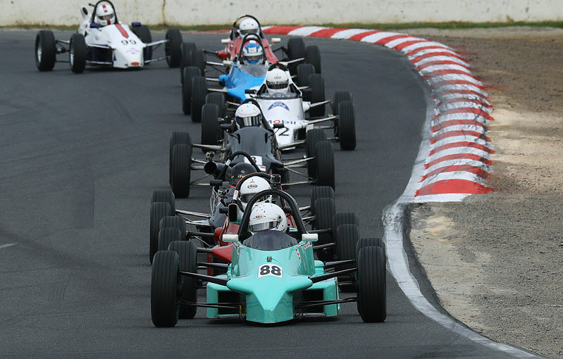 Historic formula ford racing at the Winton Festival of Speed